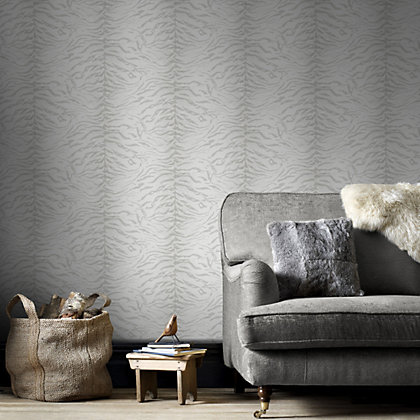 Image for Graham & Brown Tiger Skin White & Silver Wallpaper from StoreName