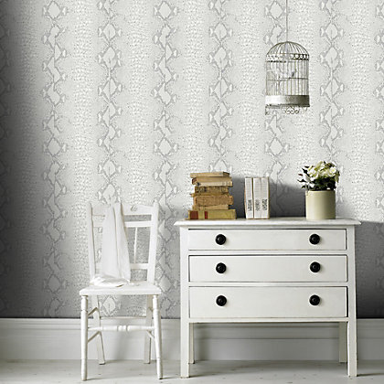Image for Graham & Brown Snake White & Silver Wallpaper from StoreName