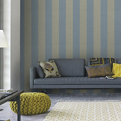 Image for Graham & Brown Artisan Stripe Mineral Blue Wallpaper from StoreName