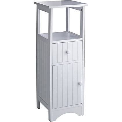 tongue and groove bathroom storage unit white