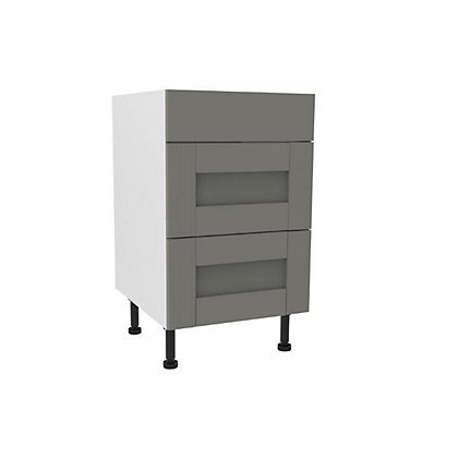 Image for Simply Hygena Southfield - Grey - 500mm Premium 3 Drawer Base Unit from StoreName