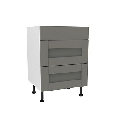 Image for Simply Hygena Southfield Grey Premium 3 Drawer Base Unit  - 600mm from StoreName