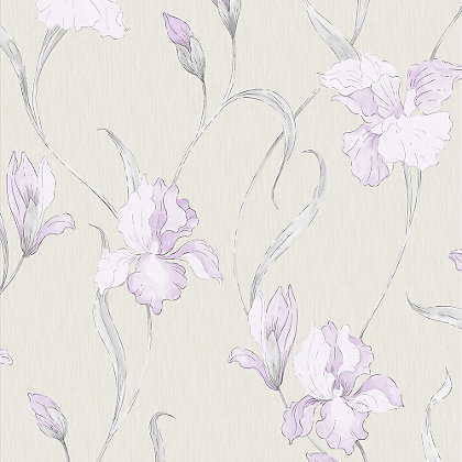 Image for Graham & Brown Iris Grey & Lilac Wallpaper from StoreName