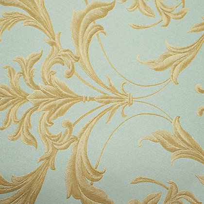 Image for Graham & Brown Oxford Teal & Gold Wallpaper from StoreName