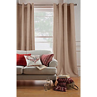 Hudson Jacquard Eyelet Curtains - Oatmeal 66 x 72in