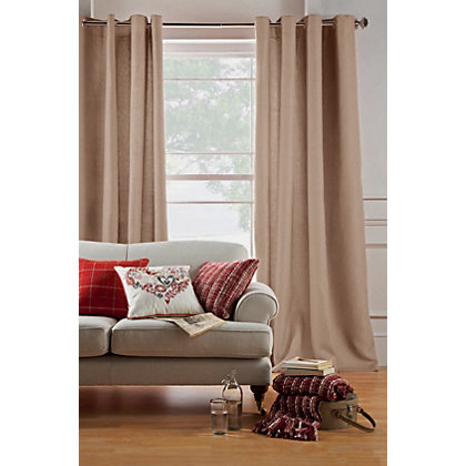 Image for Hudson Jacquard Eyelet Curtains - Oatmeal 66 x 72in from StoreName