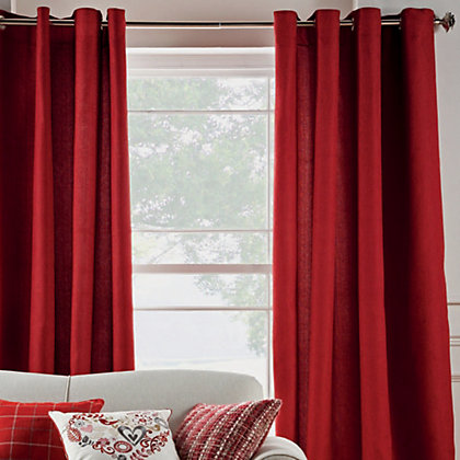 Image for Hudson Jacquard Eyelet Curtains - Cranberry 66 x 72in from StoreName