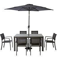 Halden Metal 6 Seater Garden Furniture Set