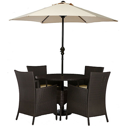 Image for Panama 4 Seater Round Rattan Effect Garden Furniture Set - Home Delivery from StoreName