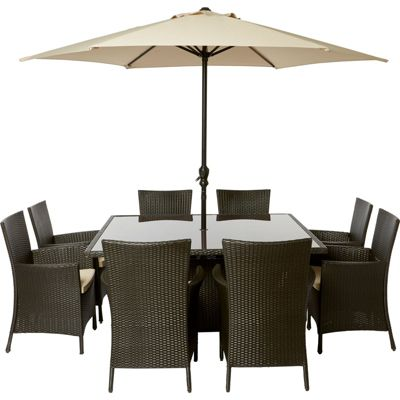 Image for Panama 8 Seater Square Rattan Effect Garden Furniture Set from StoreName