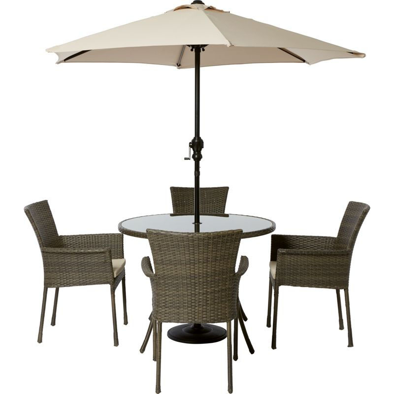 mali 4 seater round rattan effect garden furniture set collect in store