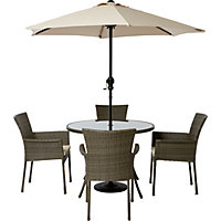 Mali 4 Seater Round Rattan Effect Garden Furniture Set - Home Delivery
