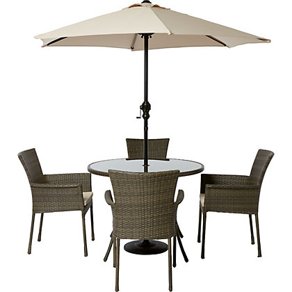 Image for Mali 4 Seater Round Rattan Effect Garden Furniture Set - Home Delivery from StoreName