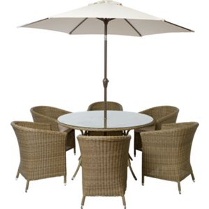 worcester 6 seater rattan effect garden furniture set home delivery