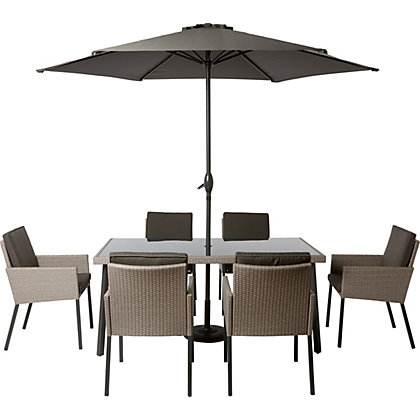Image for Palermo 6 Seater Rattan Effect Garden Furniture Set from StoreName