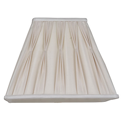 Image for Silk Square Pleated 30cm Shade Cream from StoreName
