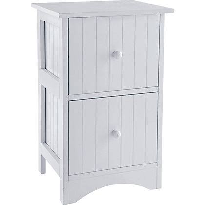 tongue and groove 2 drawer storage unit white