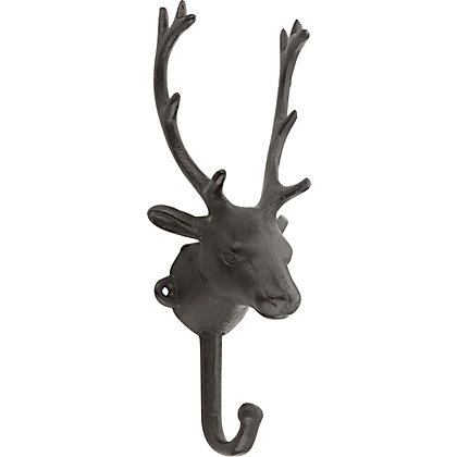 Image for Hiatt Stag Head Single Hook - Rustic Iron from StoreName