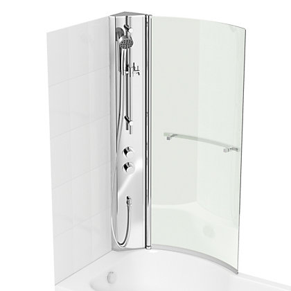 Image for Vitale Shower P Shape Bath & Screen - Right Hand - Integrated Shower Column from StoreName