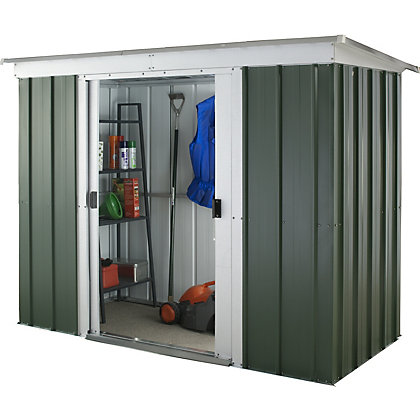 Yardmaster hercules deluxe pent metal shed 6x4ft for Garden shed homebase