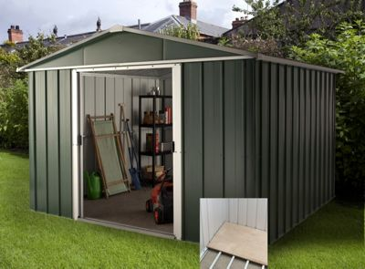 Yardmaster Hercules Deluxe Apex Metal Shed with Floor Frame - 10x13ft