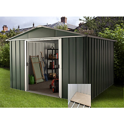 Image for Yardmaster Hercules Deluxe Apex Metal Shed with Floor Frame - 10x13ft from StoreName