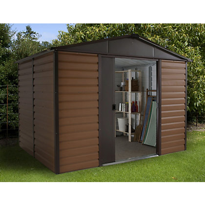 Image for Yardmaster Woodgrain Metal Shed - 8x6ft from StoreName