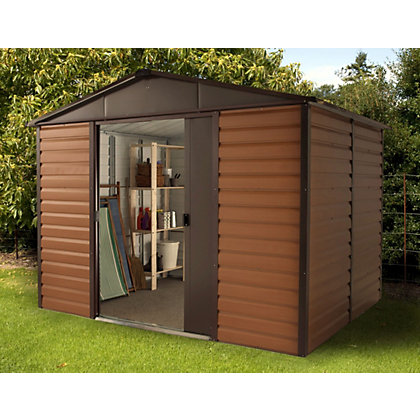 Image for Yardmaster Woodgrain Metal Shed - 10x8ft from StoreName