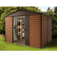 Yardmaster Woodgrain Metal Shed - 10x12ft