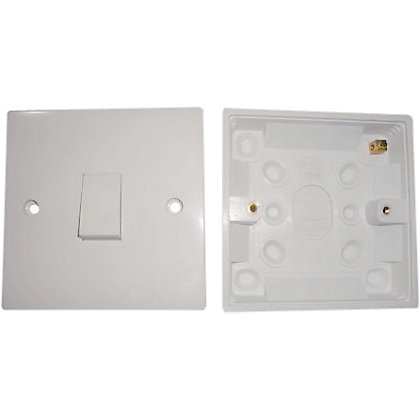 Image for Value One Gang Two Way Switch + 16mm Surface Box - White from StoreName