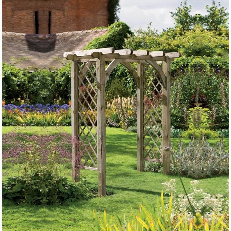 Forest large ultima pergola garden arch for Timber garden arch designs