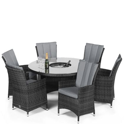 la rattan effect 6 seater round garden furniture set with ice bucket grey la rattan