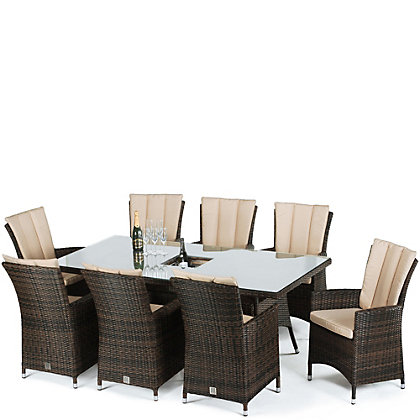 Image for LA Rattan Effect 8 Seater Garden Furniture Set with Ice Bucket - Brown from StoreName