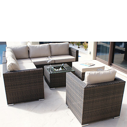 Image for London Rattan Effect 5 Seater Corner Garden Lounge Set with Footstool & Ice Bucket - Brown from StoreName