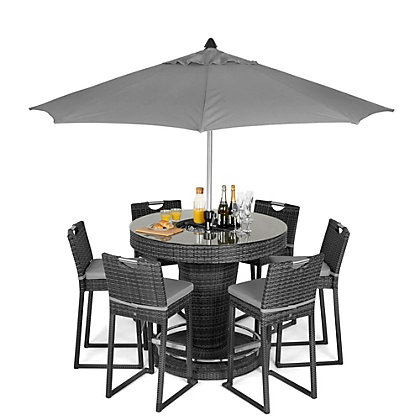 Image for Rattan Effect 6 Seater Garden Bar Furniture Set -  Grey from StoreName