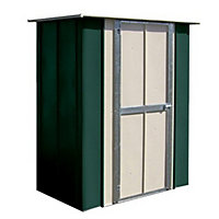 Canberra Green Metal Flat Roof Garden Utility Shed - 5x3ft