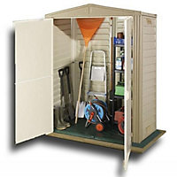 Little Hut Cream Plastic Apex Shed - 5x3ft (Includes Floor)