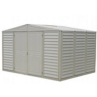 Woodbridge Cream Plastic Apex Shed - 10x8ft (Includes Foundation Kit)