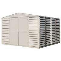 Woodbridge Cream Plastic Apex Shed - 10x10ft (Includes Foundation Kit)