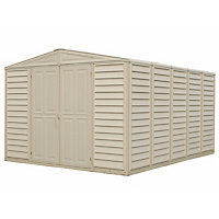 Woodbridge Cream Plastic Apex Shed -10x13ft (Includes Foundation Kit)