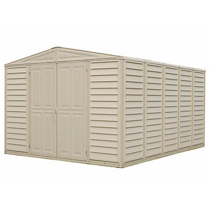 Image for Woodbridge Cream Plastic Apex Shed -10x13ft (Includes Foundation Kit) from StoreName