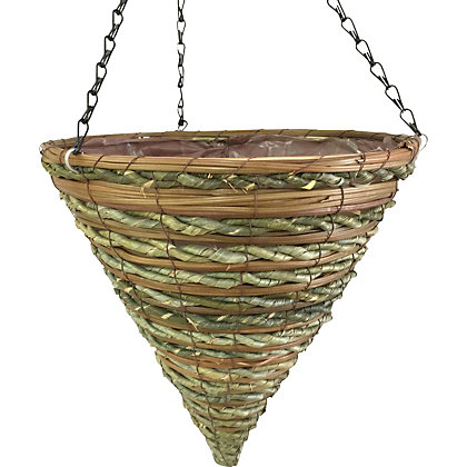 Image for Rattan Hanging Cone Rope and Fern from StoreName