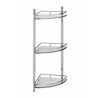 Bathroom corner shelf unit wall mounted - Bathroom glass corner shelves shower ...