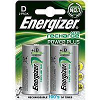 Energizer Rechargeable D 2500mAh Batteries - 2 Pack