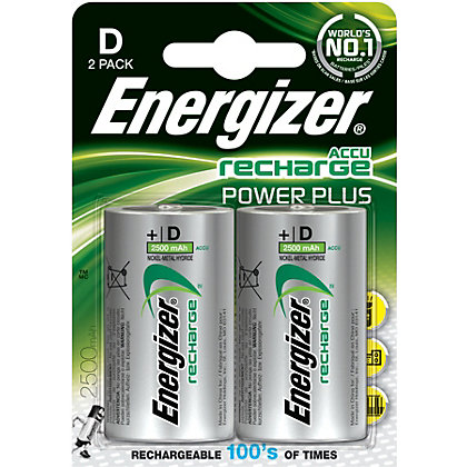 Image for Energizer Rechargeable D 2500mAh Batteries - 2 Pack from StoreName