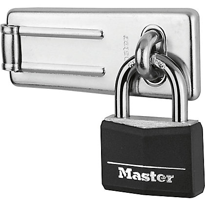 Image for Master Lock 40mm Black Covered Aluminium Padlock with 115mm Hard Wrought Steel Hasp from StoreName