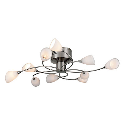 Image for Corrine 10 Arm Satin Nickel Ceiling Light from StoreName