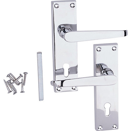 Image for Victorian Lever Lock Door Handle - Polished Chrome - 1 Pair from StoreName