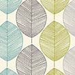 Arthouse Opera Retro Leaf Wallpaper - Teal and Green