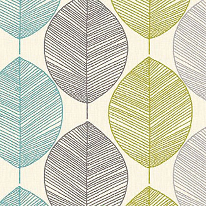 Image for Arthouse Opera Retro Leaf Wallpaper - Teal and Green from StoreName